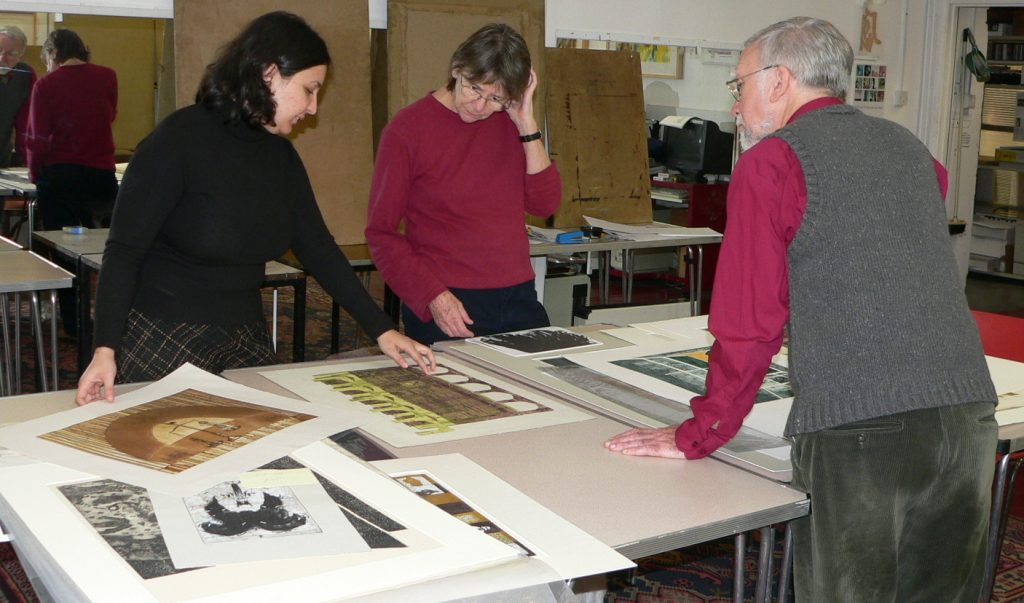 Selection day for Contemporary Welsh Printmakers | Peter Ford | Jackie Ford | Sameera Khan